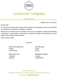 Comunicado de conducción colegiada VL, 2may17