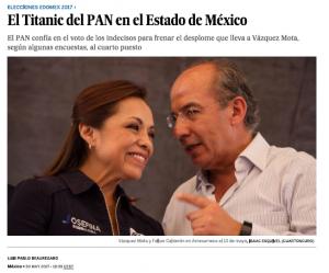 Elecciones EdoMex PAN portada, El País 30may17
