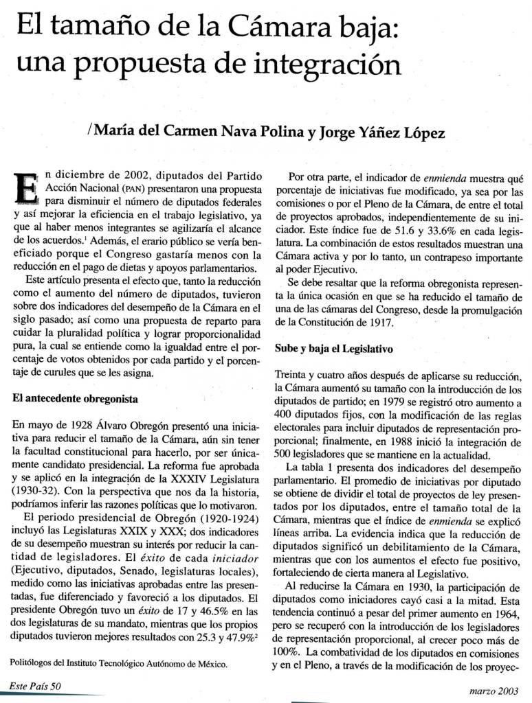 Artículo Este País propuesta de integración diputados, 2003