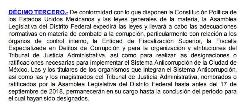 Décimo tercero transitorio constitucional CdMx, ene18