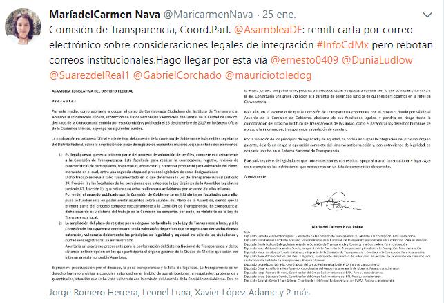 Tuit carta comisión ilegalidades, 25ene18