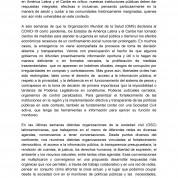 COVID 19 | Pronunciamiento de redes de organizaciones de la sociedad civil